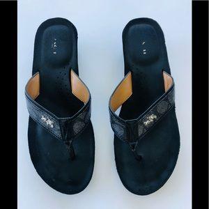 COACH Jolene wedge flip flops black 10